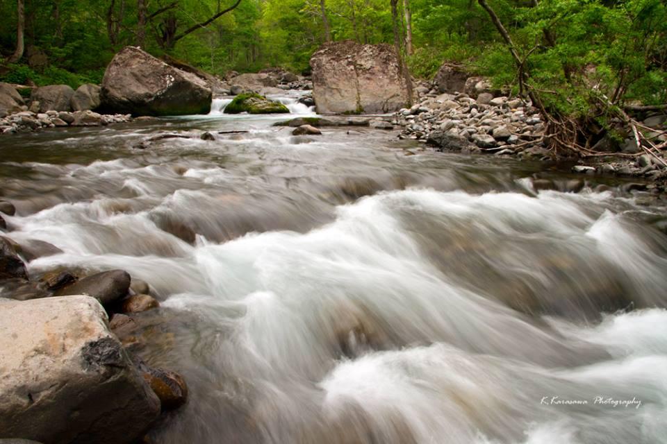 冷たーい雪解け水の雑魚川です。