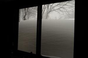 こんもりと、窓越しの粉雪達。