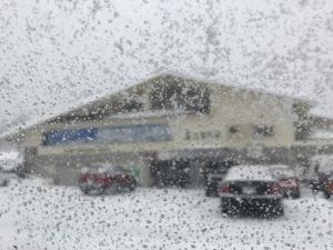 今日は大雪注意報。