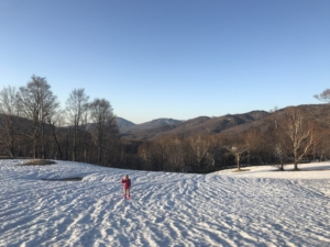 夕暮れ、雪原、散歩。